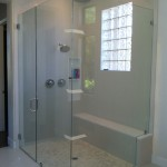 Frameless Shower Door with Chrome Hardware