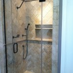 Frameless shower door in Oil Rubbed Bronze