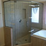 Semi Frameless Shower Door with Chrome Hardware