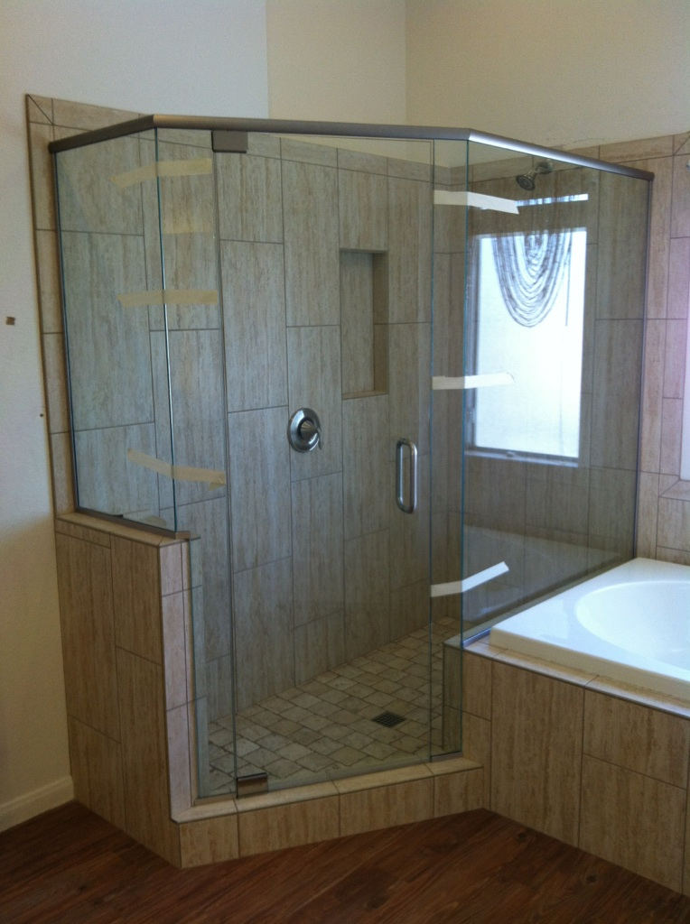 semi frameless glass door knee doors shower raleigh residential wall nc