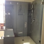 Frameless shower door.