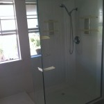 "3/8"" frameless shower door with chrome hard ware"